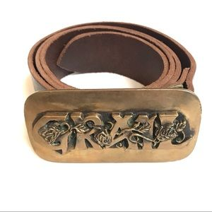 Vintage Grail gold roses Buckle with leather belt